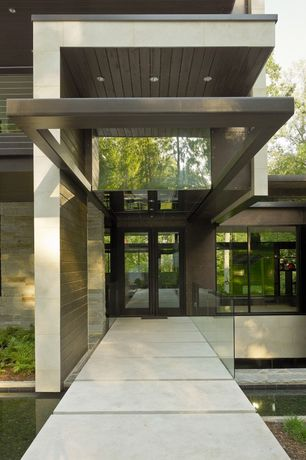 Contemporary Front Door with Pathway, exterior tile floors, French doors