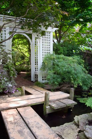 Asian Landscape/Yard with Arbor, Fence, Pond, Fairfield grande arbor, Pathway