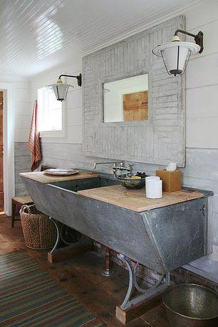 Eclectic Full Bathroom with Standard height, Painted panel ceiling, Hardwood floors, Casement, specialty door, Crown molding