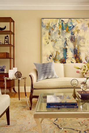 "Traditional Living Room with Laminate floors, Area rug, Valeria 70"" Sofa, Ivory, Crown molding, Sunpan Modern Flato End Table"