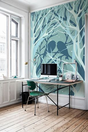 Contemporary Home Office with interior wallpaper, Hardwood floors