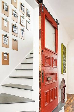 Eclectic Staircase with Hardwood floors, Paint 3, High ceiling, Paint 1, curved staircase, specialty door, Sparco clipboard
