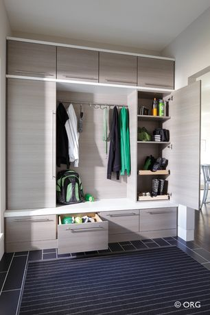 Contemporary Mud Room with Built-in bookshelf, Concrete tile