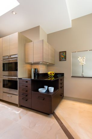 Contemporary Kitchen with Double wall oven (stainless steel), Destiny: slab cabinets, High ceiling, European Cabinets