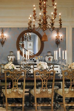 Traditional Dining Room with Brass morning glory vine antique chandelier, Crown molding, Christel room18542 camila wallpaper