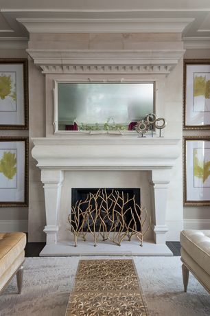 Contemporary Living Room with Brass and glass coffee table, Aged gold sculptures, White stone fireplace mantel