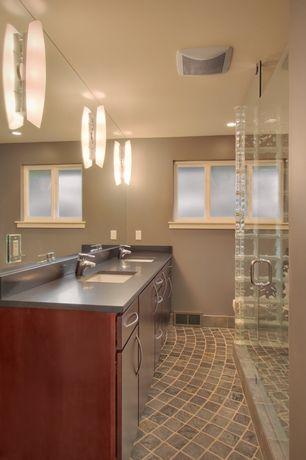 Contemporary 3/4 Bathroom with Undermount sink, Soapstone counters, frameless showerdoor, Wood Cabinet Doors, Double sink