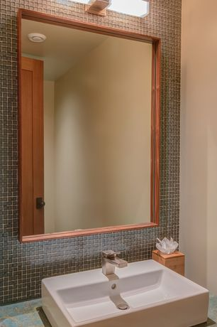 Contemporary Powder Room with Powder room, Daltile Colorwave Mosaic Tile In Silver Mink, Slate counters, Vessel sink, Paint 1