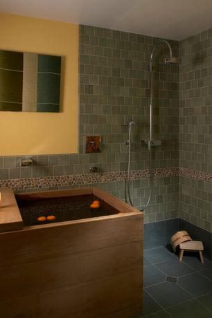 Contemporary Master Bathroom with SomerTile 12x12-in Riverbed Multi Natural Stone Mosaic Tile