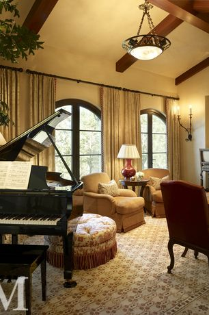 Traditional Game Room with French doors, flush light, Hardwood floors, Exposed beam