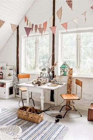 Eclectic Playroom with Craft room, Hardwood floors, High ceiling