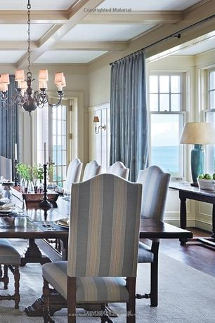 Traditional Dining Room with French doors, Laminate floors, Wall sconce, Box ceiling, Chandelier, Wainscotting