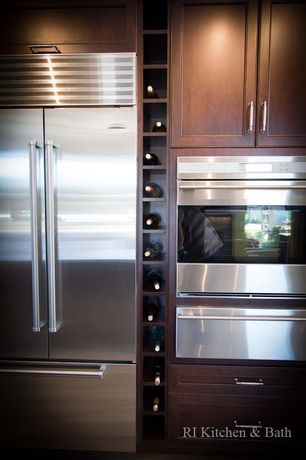 Contemporary Kitchen with warming oven, One-wall, Standard height, Multiple Refrigerators, Flush, Flat panel cabinets