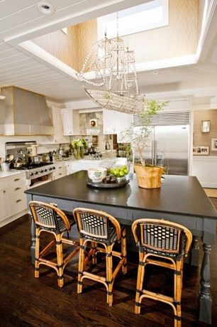 Traditional Kitchen with Custom hood, Crown molding, Inset cabinets, High ceiling, Flat panel cabinets, Soapstone counters