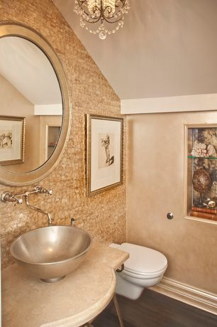 Contemporary Powder Room with Mactan cream pearl bricklay mother of pearl tile, Chandelier, Limestone counters, Paint 1