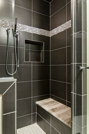 "Contemporary Master Bathroom with frameless showerdoor, Master bathroom, ENDEAVORS RANDOM X 5/8"" - NEO CLASSIC MOSAIC"