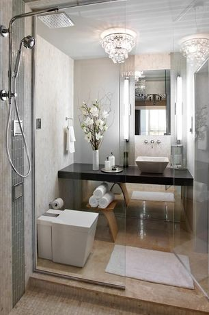 Contemporary 3/4 Bathroom with Marble Emperador Light Floor, frameless showerdoor, Caesastone 5100 Vanilla Noir, flush light