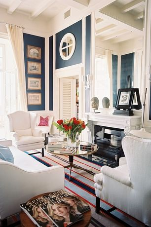 Traditional Living Room with Carpet, Pottery barn thatcher upholstered wingback chair, Casement, French doors, Paint