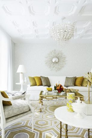 Traditional Living Room with Wooden bead chandelier, Safavieh Greta Off White Accent Table, Standard height, Paint, Carpet