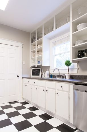Traditional Kitchen with One-wall, Inset cabinets, Simple granite counters, Simple Granite, Flat panel cabinets, Skylight