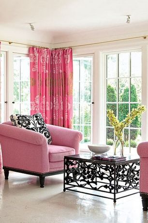 Contemporary Living Room with flush light, The Pillow Collection Kimono Candy Pink Rod Pocket Curtain Panels, Concrete floors