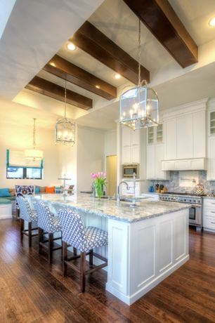 Traditional Kitchen with Exposed beam, Complex granite counters, Complex Granite, High ceiling, Glass panel, Undermount sink