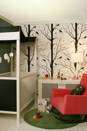 Contemporary Kids Bedroom with no bedroom feature, interior wallpaper, Paint 1, Crown molding, Standard height