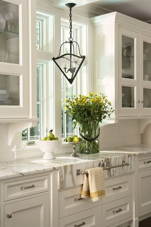 Traditional Kitchen with picture window, One-wall, Complex marble counters, Pendant light, Inset cabinets, Standard height