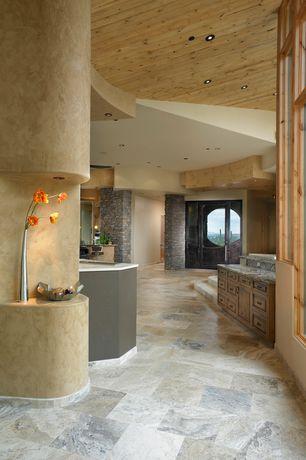 Modern Hallway with Polished tall organic vase- 108cm, slate tile floors, High ceiling, Columns, Glass panel door, paint2