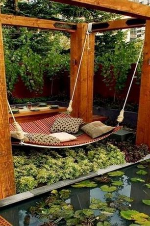 Asian Landscape/Yard with Outdoor swing bed, Fence, Pathway, Trellis, Raised beds, Pond