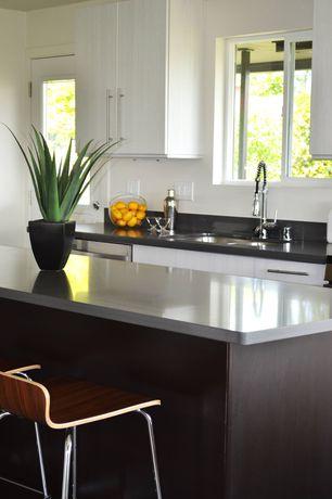 Modern Kitchen with Flush, Stellar Night, Stellar Snow, Breakfast bar, French doors, European Cabinets, Kitchen island