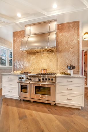 Traditional Kitchen with European Cabinets, Exposed beam, One-wall, Herringbone Tile, Crown molding, Hardwood floors