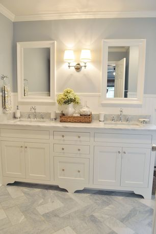 Traditional Master Bathroom with Double sink, Complex Marble, Shades of Light Springfield Sconce with Linen Drum Shades 2 LT