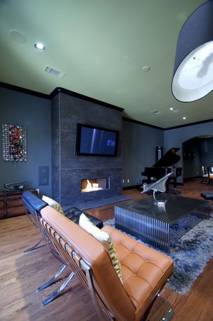 Contemporary Living Room with Crown molding, Hardwood floors, Nuloom hand-woven flokati wool shag rug, Cement fireplace