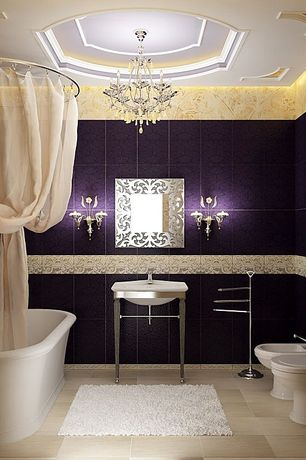 Traditional Full Bathroom with Chandelier, Freestanding, Wall sconce, Console sink, Bathtub, Bidet, stone tile floors
