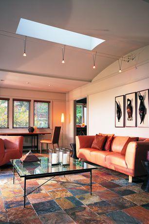 Modern Living Room with Skylight, Crown molding, slate floors, Pendant light, High ceiling