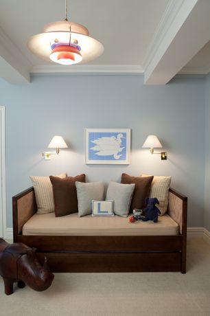Contemporary Kids Bedroom with Carpet, Exposed beam, Crown molding, Pendant light