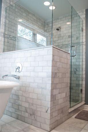 Traditional Master Bathroom with Freestanding, Master bathroom, frameless showerdoor, TileBar Asian Statuary 3x6 Marble Tile
