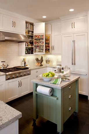 Country Kitchen with Kitchen island, U-shaped, can lights, Rev a shelf door storage spice rack, Subway Tile, full backsplash