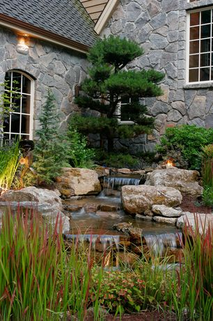 Rustic Landscape/Yard with Ozark/fieldstone 10 sq ft flat, Custom medium in-ground waterfall and pond, Pond, Fountain
