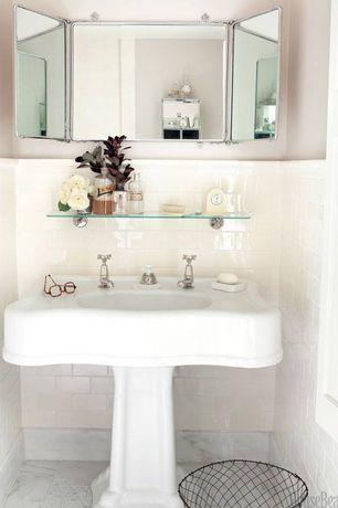 Traditional Full Bathroom with Pedestal sink, Randolph Morris Pedestal Bathroom Sink, complex marble tile floors