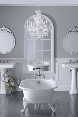"Traditional Master Bathroom with Chandelier, Wainscotting, slate tile floors, Meriet Etched Glass 31 1/2"" Round Wall Mirror"
