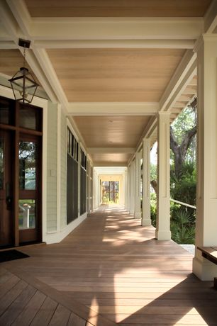 Traditional Porch with Transom window, Wrap around porch, Glass panel door