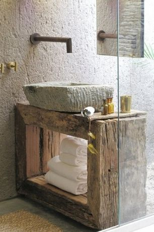Rustic Powder Room with Stone sink, Wood counters, Signature Hardware MOSAIC NATURAL RIVER STONE VESSEL SINK BROWN ONYX