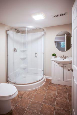 Traditional 3/4 Bathroom with Farmhouse sink, Kohler - Devonshire, Centerset Bathroom Sink Faucet, flush light, Flush
