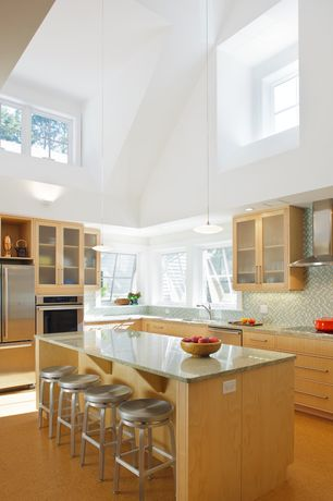 Modern Kitchen with Cathedral ceiling, L-shaped, Pendant light, Simple granite counters, Wall sconce, Ceramic Tile
