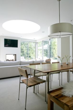 Contemporary Dining Room with flush light, Concrete tile
