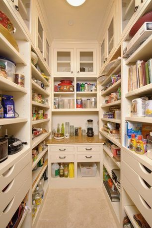 Traditional Pantry with Granite countertop, Built-in bookshelf, Porcelain floor and wall tile, flush light, High ceiling