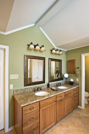 Traditional Master Bathroom with Flat panel cabinets, Double sink, High ceiling, Built-in bookshelf, Simple Granite