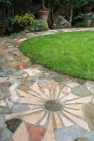 Traditional Landscape/Yard with Fence, Flagstone, Pathway, exterior stone floors